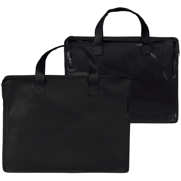 Black Portfolio With Zipper Closure And Carrying Handles Photo