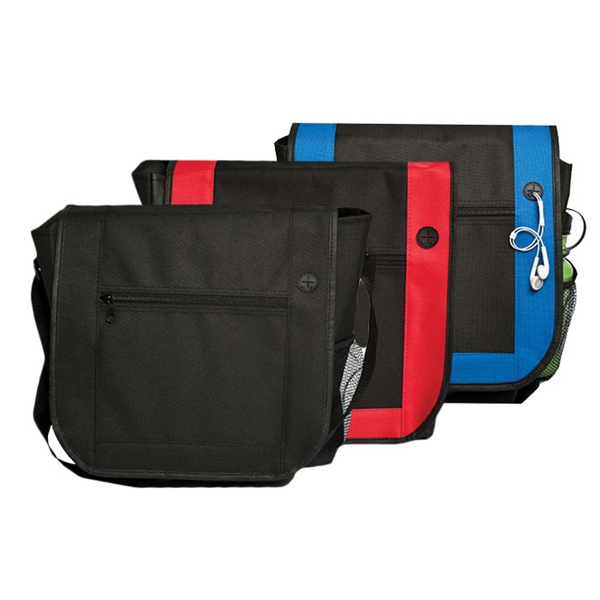 Messenger Bag With Headphone Port On Front Flap Photo