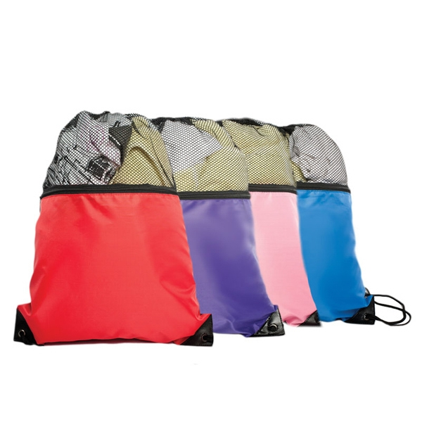 Drawstring Backpack With Front Zippered Pocket And Reinforced Corners Photo