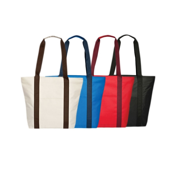 Tote With Zippered Compartment And Front Open Pocket Photo
