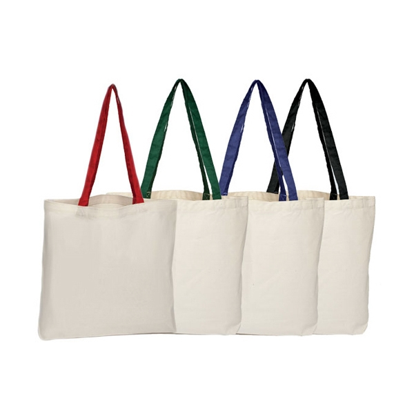 Canvas Tote With Colored Handle And Open Compartment Photo