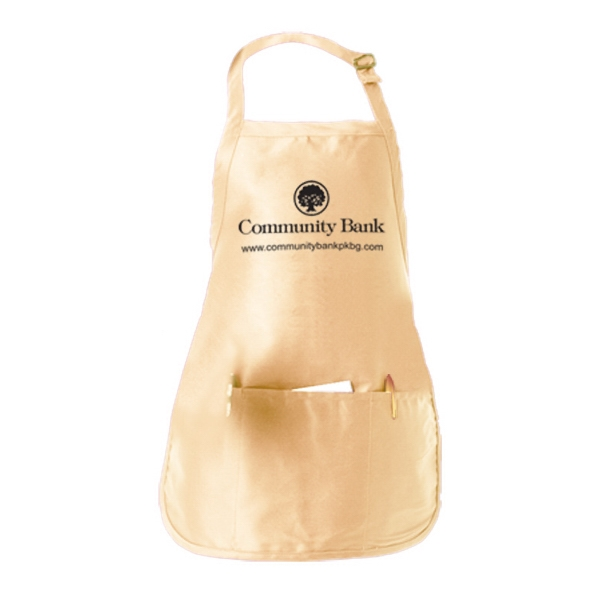 Medium Length Bib-style Apron With Front Pouch Photo