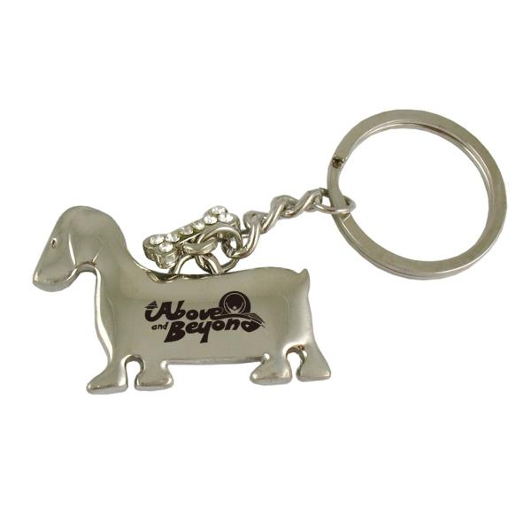 Dog With Small Bone Key Tag
