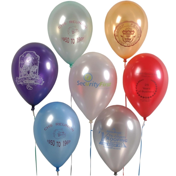 "11"" Imprinted Pearlized Biodegradable Latex Balloon"