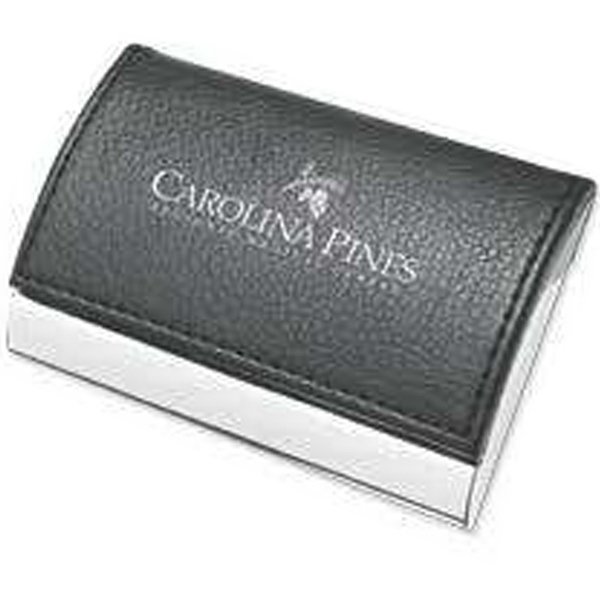 Pinemax - Metal Business Card Case With Faux Leather Top Cover Photo