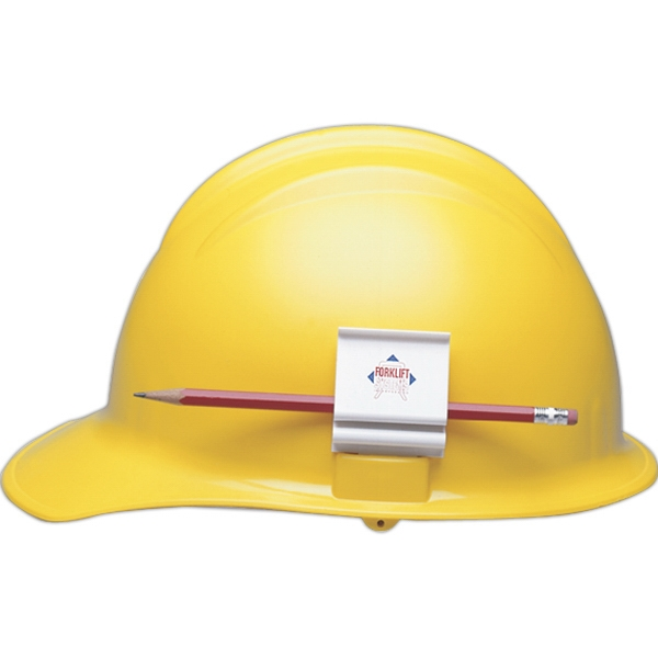 Hard Hat Clip, Slot Mounted. Holds Carpenter Pencil Photo