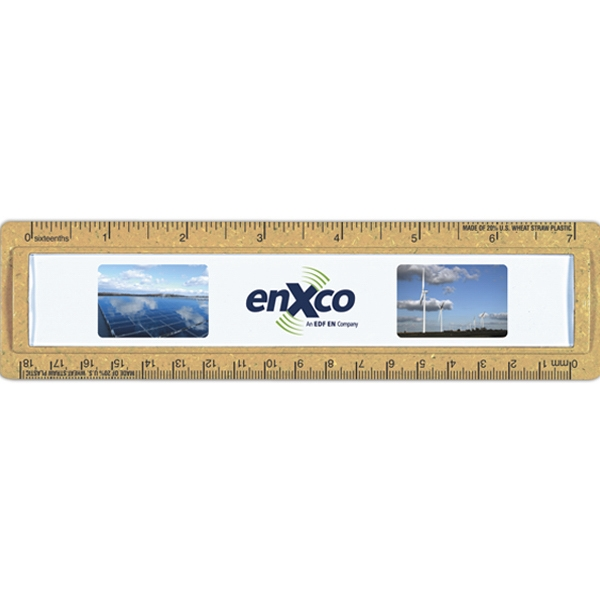 "Bioad(tm) Quickview - 7"" Wheat Straw Ruler. Insert Printed On White Paper Under Protective Lens Photo"