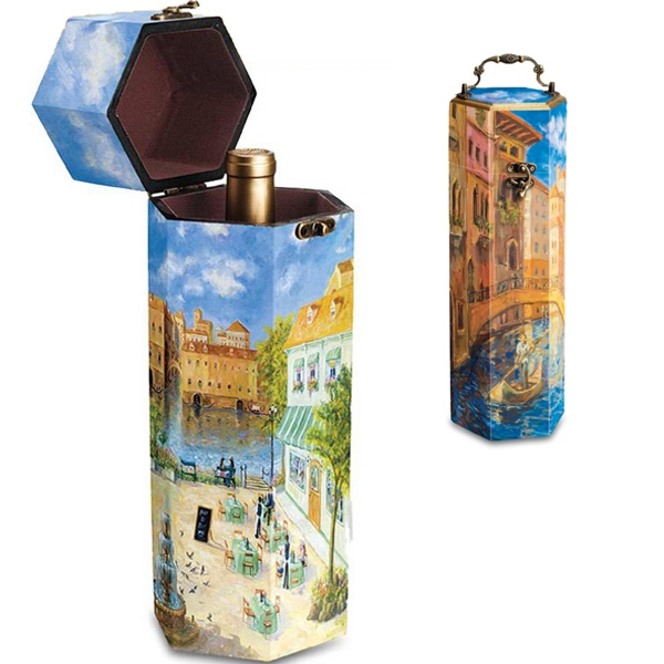 Impressionist - Handsomely-designed Single-bottle Wine Box With Ornate Handle And Fastening Clasp Photo