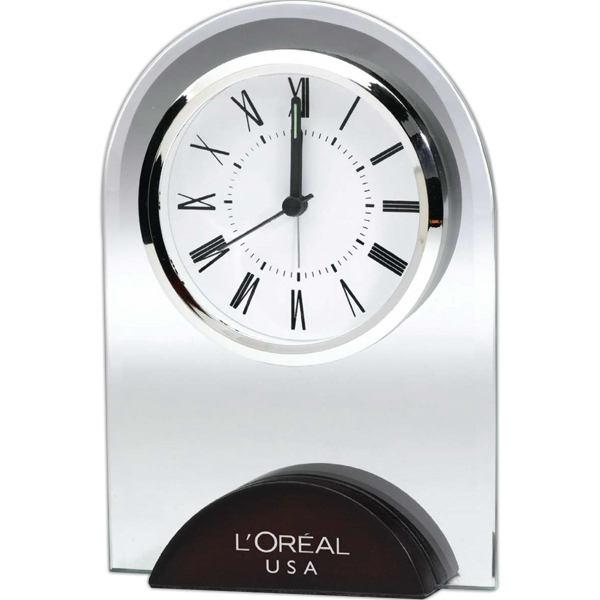 Dome - Glass Desk Clock With Wood Base Photo