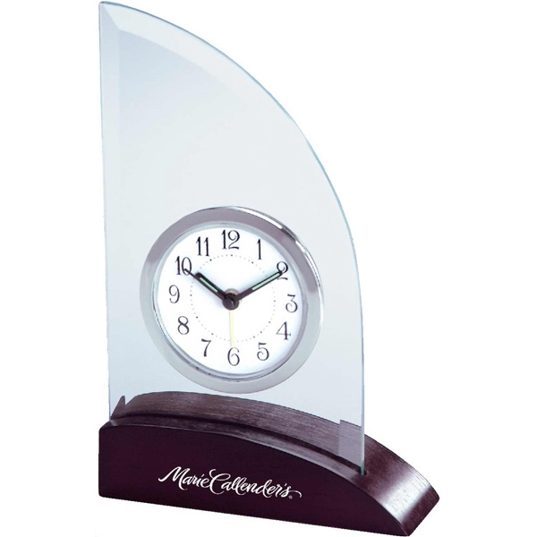 Triumph - Glass Desk Clock. Wood Base Photo