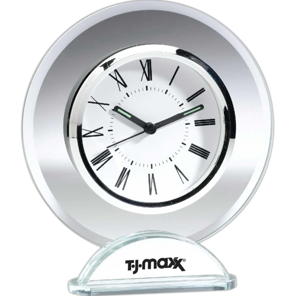 Italia - Glass Desk Clock. Polished Chrome Plate On Base For Imprint Photo