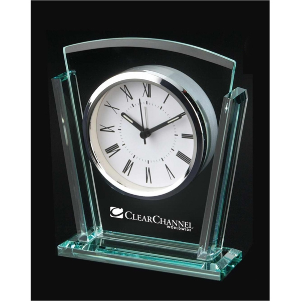 Executive - Desk Clock With Tapered Glass Body. Chrome Bezel Photo