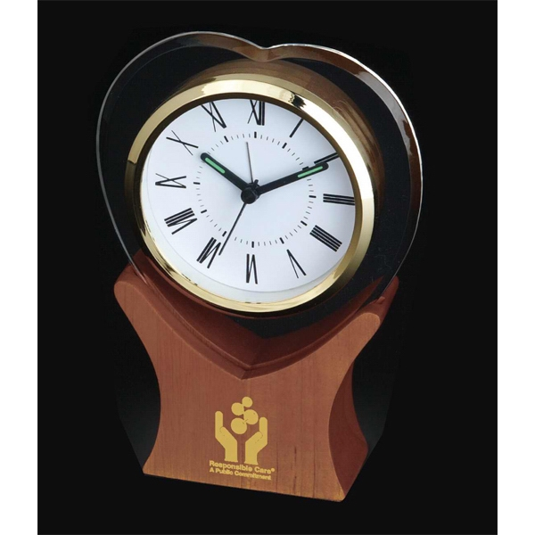 Heart Shape Glass Desk Clock. Large Wooden Base Photo
