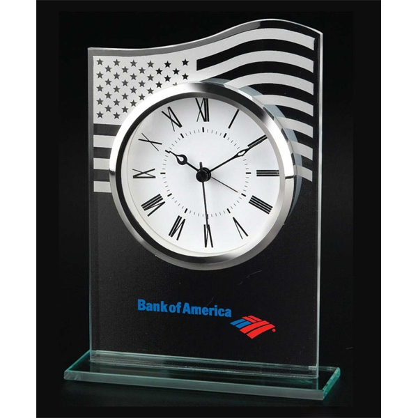 Us Flag - Frosted Us Flag Design On Upper Portion Of Clock. Chrome Finish Bezel Photo