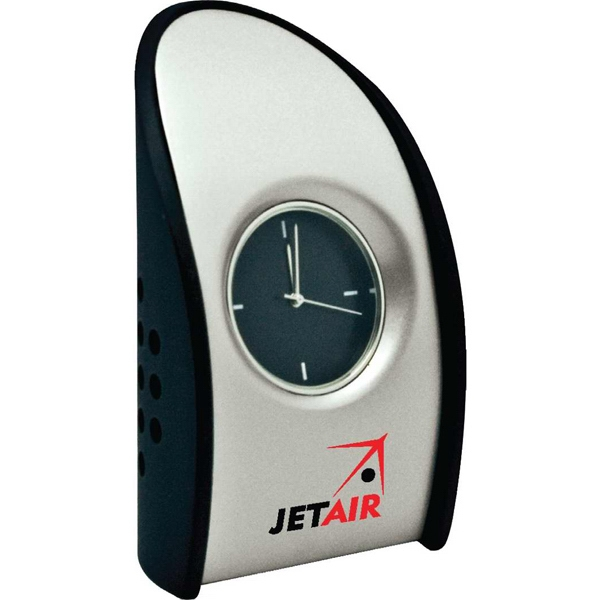 Tuscany - Heavy Metal Desk Clock With Contemporary Black Designer Case, Stylish Black Dial Photo