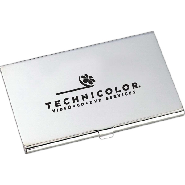 Classic - Silver Plated Business Card Holder With Snap Closure Photo