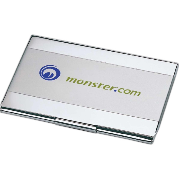 Dual Tone Business Card Holder. Matte Finish With Snap Closure Photo