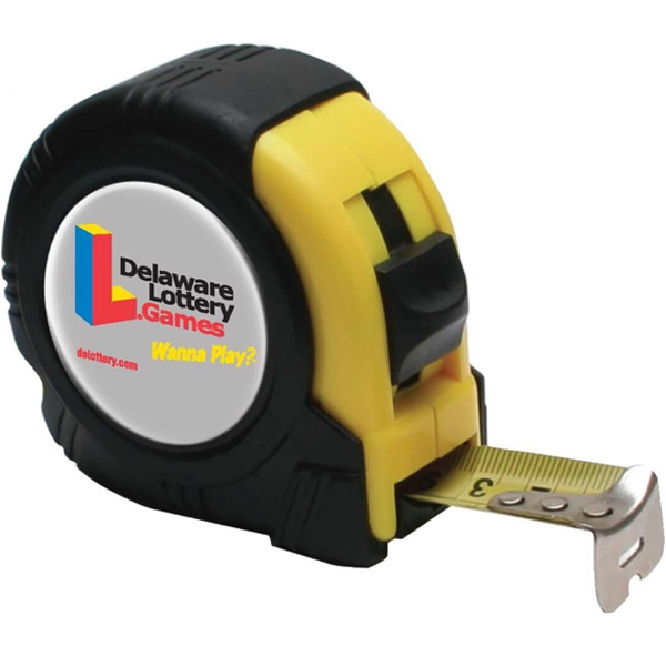 25' Tape Measure. 25 Feet Retractable Metal Tape. Heavy Duty Construction Photo