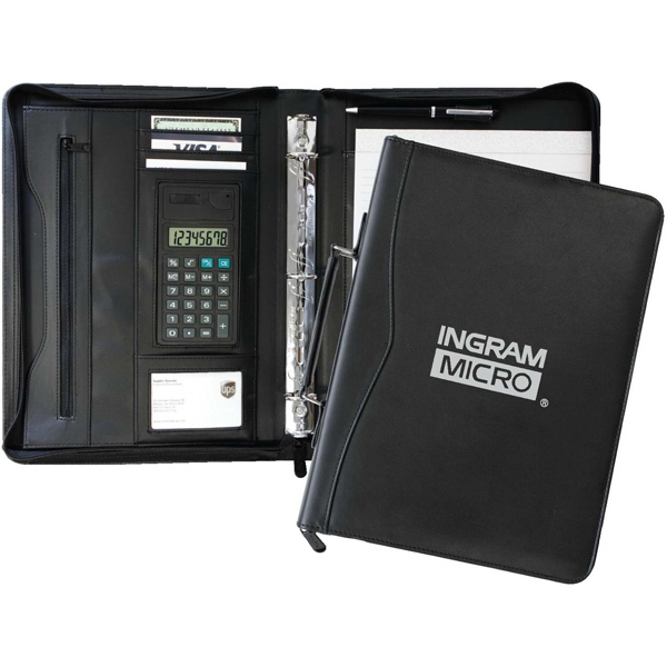 Leatherette Zippered Portfolio With Business Card Holder, Ballpoint Pen & Memo Pad Photo