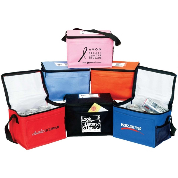 Bedford - 6 Pack Insulated Cooler. Front And Side Pocket. Top Window Id Holder Photo