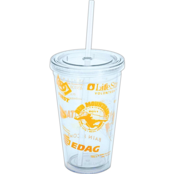 Altinda - Acrylic Tumbler, Double-walled, With Clear Straw, And Plastic Logo Insert Photo