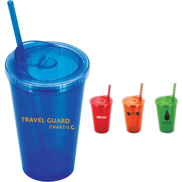 Duality - Tumbler, Double Walled With Enhanced Lid, Drink With Or Without A Straw. 16 Oz Photo