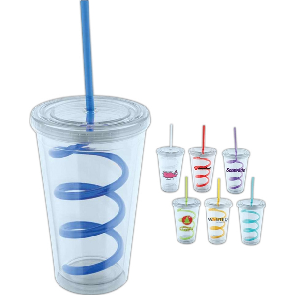 Eddy - 20 Oz Double Walled Acrylic Tumbler With Swirl Straw Photo