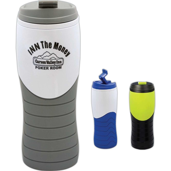 Amplitude - 16 Oz. Tumbler, Double Wall With Pop-up Lid That Latches Open Or Shut, Grip Area Photo