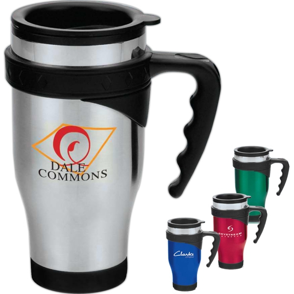 Symphony - Stainless Steel Travel Mug With Plastic Liner, Diamond And Silver Ring Details Photo