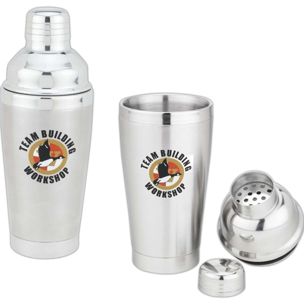 Cocktail Shaker - 16 Oz. Double Stainless Steel Cocktail Shaker. Perfect For Parties Photo