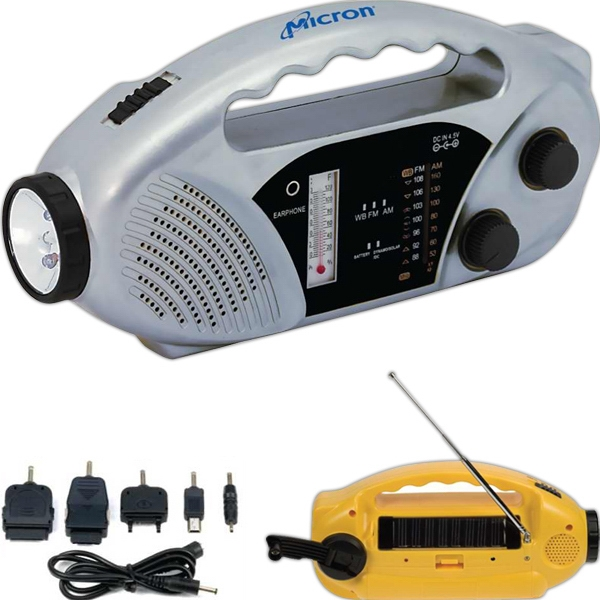 Solar Am/fm Emergency Tool With Flashlight, Siren, Weather Thermometer And More Photo