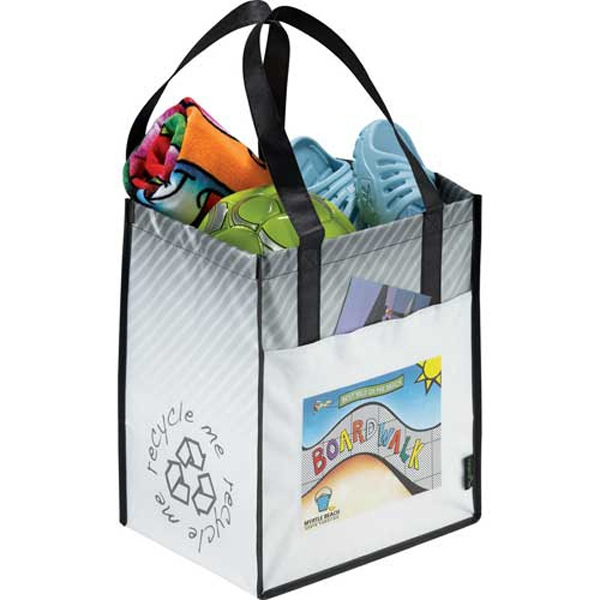 Laminated Non Woven Striped Big Grocery Tote Photo