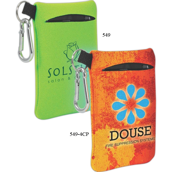 Neoprene Mobile Accessory Holder With Key Ring Loop And Carabiner Clip Photo