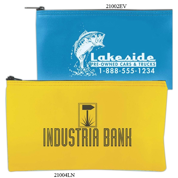 "Horizontal Bank Bag, Laminated Nylon With Zipper Closure, 10.5"" X 5.5"" Photo"