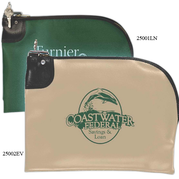 "Curved Zipper Bank Deposit Bag, Laminated Nylon, 10.5"" X 9"" Photo"