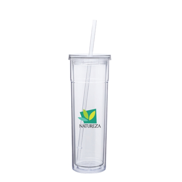 Torino (tm) - Clear - Acrylic Double Wall Tumbler With Threaded Lid And Matching Straw Photo