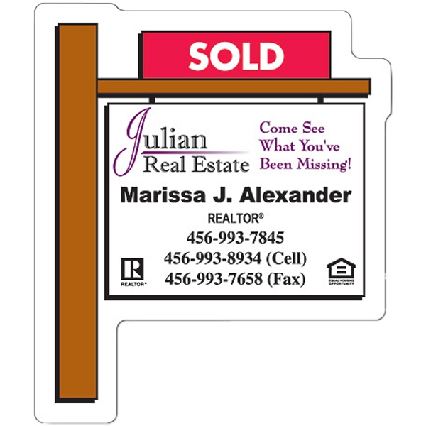 "Magnet - Real Estate Sold Sign Shape - 2.25"" X 2.75"" - 30 Mil Photo"