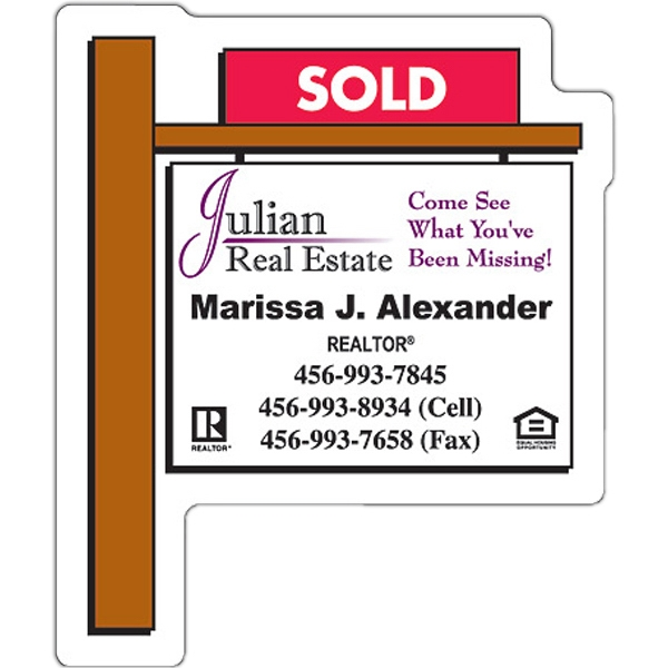 "Tuffmag (tm) - Magnet - Real Estate Sold Sign Shape - 2.25"" X 2.75"" - Outdoor Safe Photo"