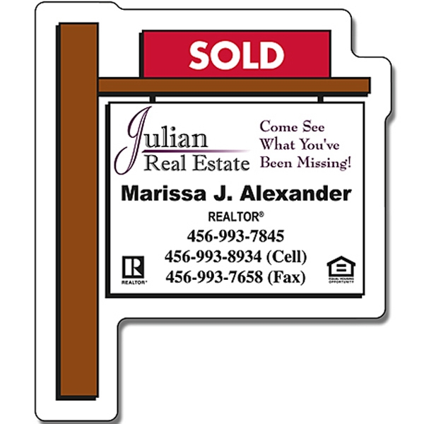 "Real Estate Magnet - Sold Yard Sign Shape. 2.25"" X 2.75"". 25 Mil Thick Photo"