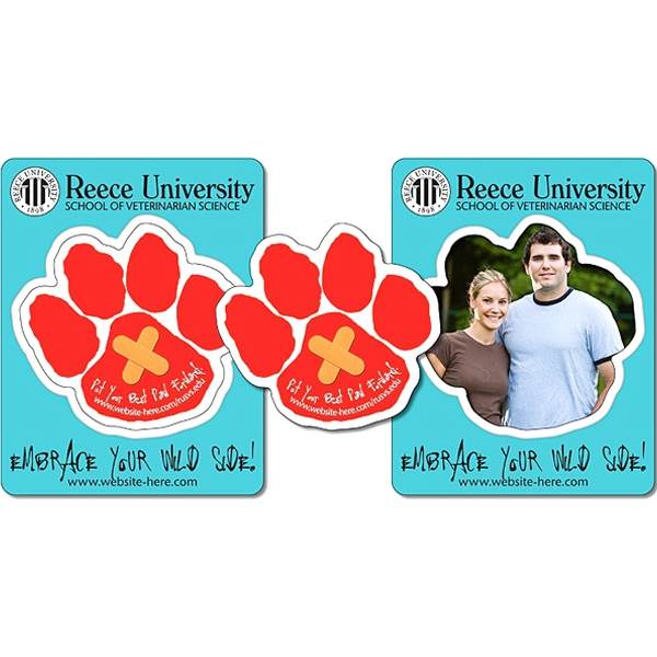 "School Picture Frame Magnet. 3.5"" X 4.5"" With Paw Shape Punch (3"" X 2.75""). 25 Mil Photo"