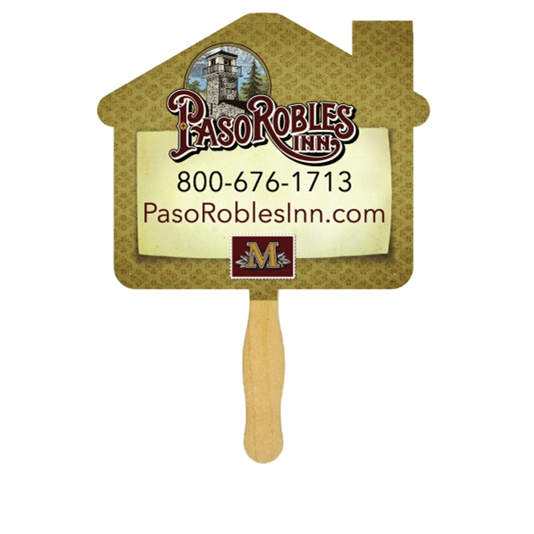 House - One Color Imprint Hand Fan With Wooden Handle. Fan Made Of 16 Points Board Stock Photo