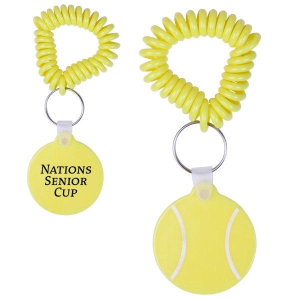 Tennis Ball Shaped Vinyl Key Fob With Coil Wristband Photo