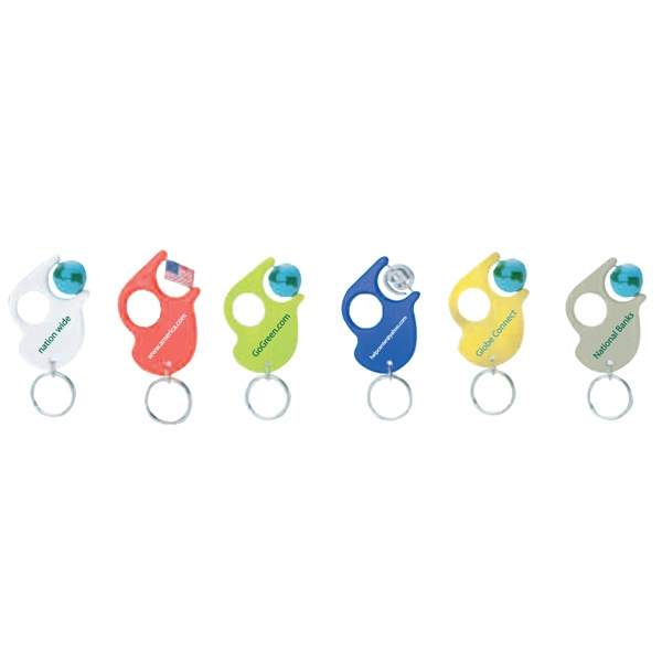 Spinner Key Tag (tm) - Translucent Blue - Plastic Key Tag With Spinner Bead Photo