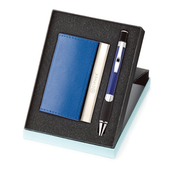 2-piece Card Case And Pen Blue And Black Gift Box Photo