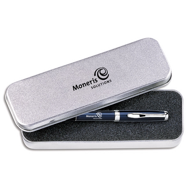 Single Tin Gift Box For Pens, Rollerballs Or Pencils With Sandstone Finish Photo