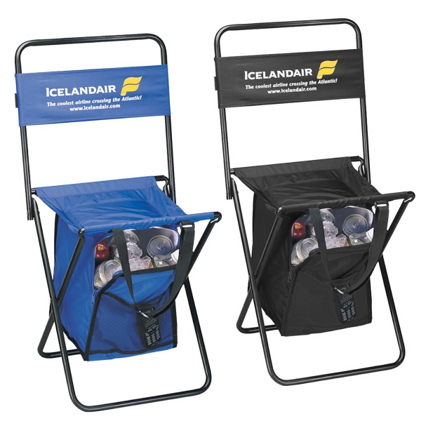 Folding Chair With Cooler (Large) - Large folding chair w/ cooler (Large) made of 420 Denier Nylon with a durable metal frame.
