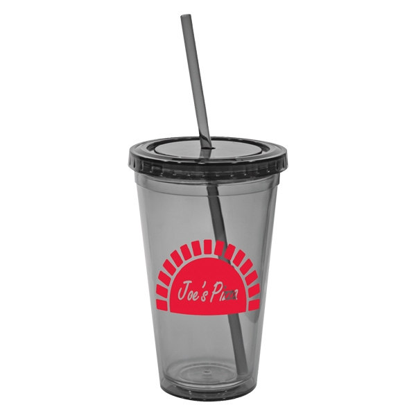 San Double Wall Tumbler With Straw, 16 Oz Photo