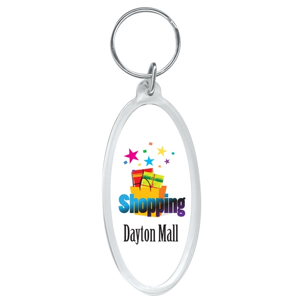 "2 Working Days - Full Color Oval Key Ring, 1 3/4"" X 3"" Photo"