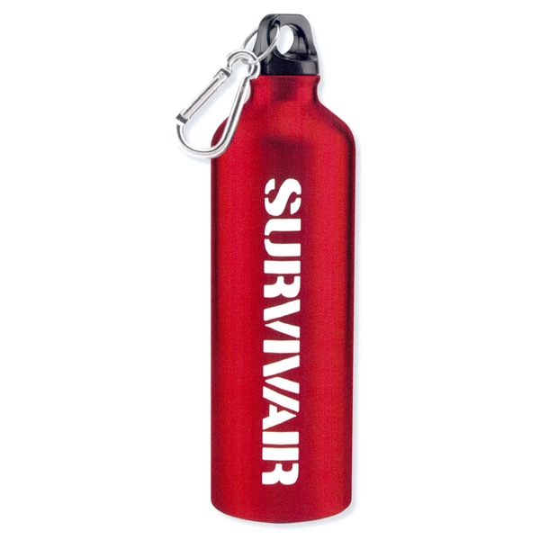 Hydro - Red - Aluminum Sports Bottle With Carabiner, 25 Oz Photo