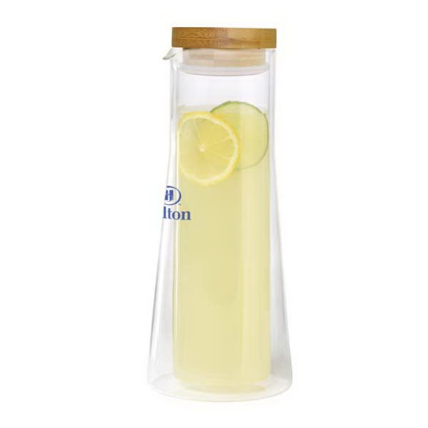 Double Wall Glass Carafe With Bamboo Lid, 1 L Photo
